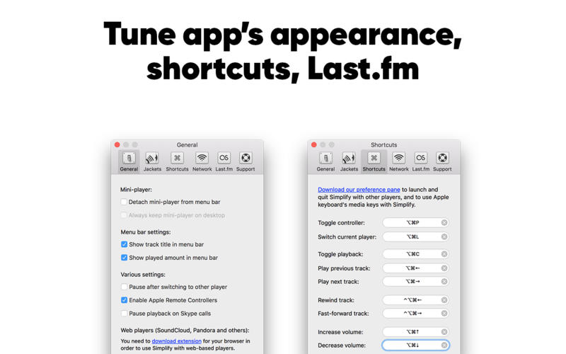 Simplify: control your favourite music players Screenshots