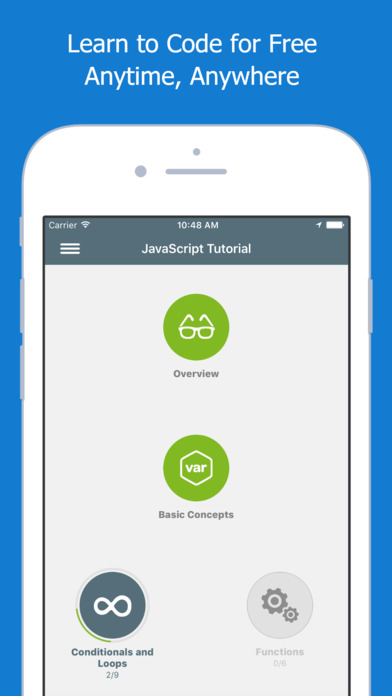 Screenshots of Learn JavaScript for iPhone