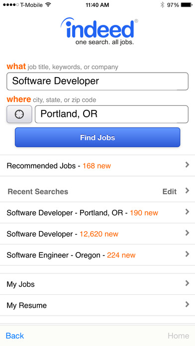 iphone screenshot 1 - Indeed Search Resumes