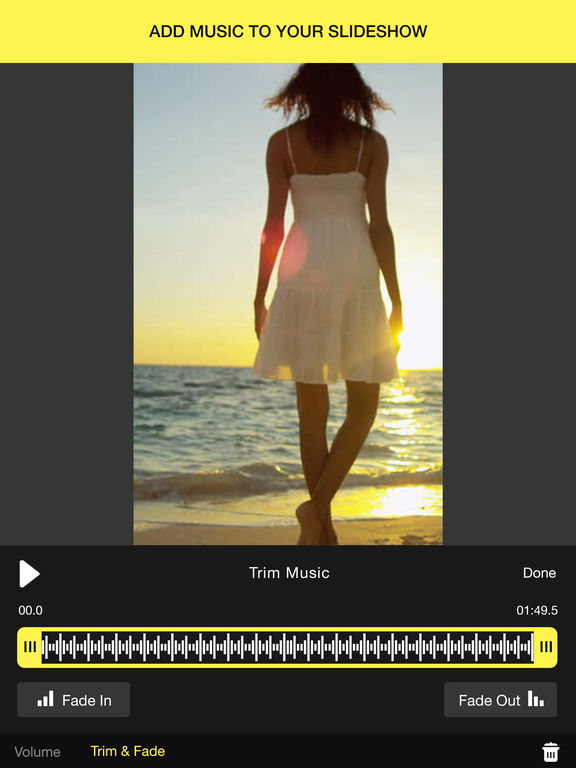 how to make a picture slideshow with music on iphone