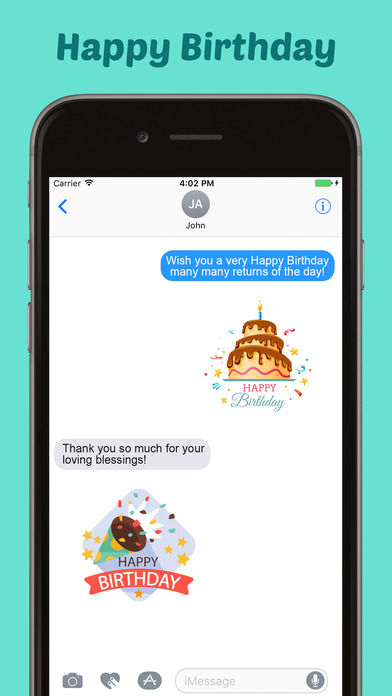 Happy Birthday Stickers Pack for iMessage screenshot 1