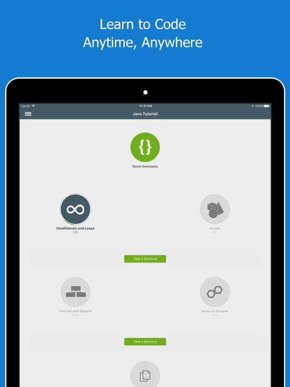 Screenshots of Learn Java for iPad