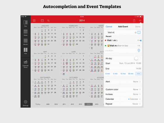 Week Calendar for iPad Screenshots