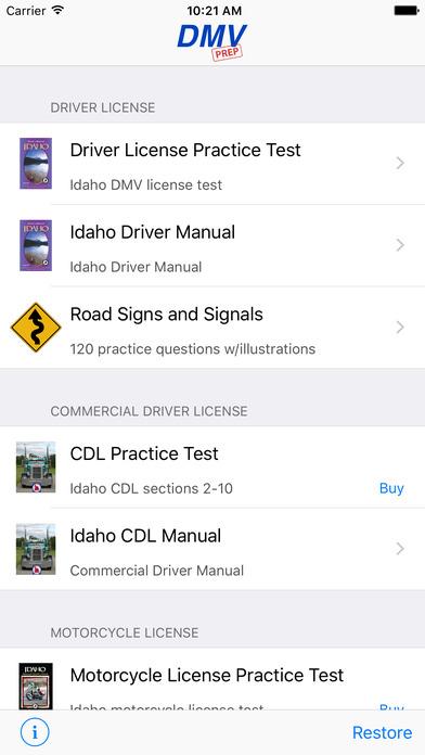 DMV Test Prep - Idaho iPhone Screenshot 1