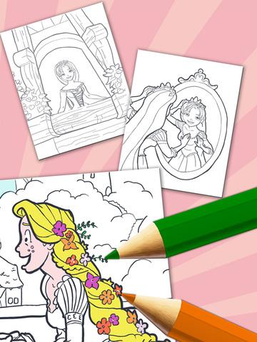 长发公主涂色儿童画画游戏 - 绘.
