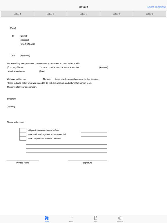 Payment Inquiry Letter Screenshots