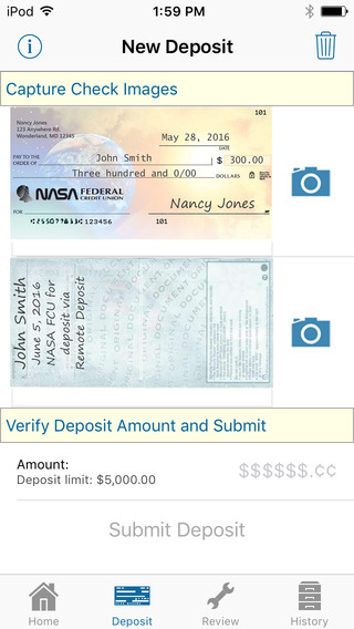 NASA FCU Mobile Remote Deposit iPhone Screenshot 5