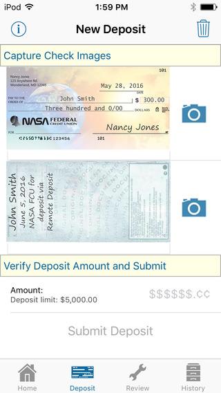 NASA FCU Mobile Remote Deposit iPhone Screenshot 5
