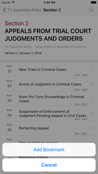 Texas Rules of Appellate Procedure (TX Law) iPhone Screenshot 3