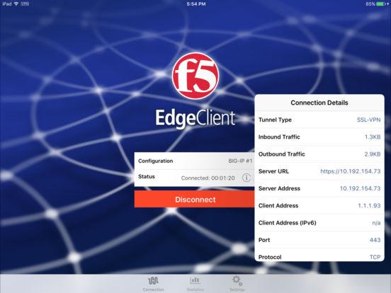 F5 BIG-IP Edge Client iPad Screenshot 2