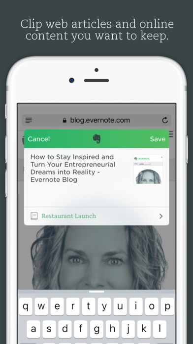 Screenshots of Evernote - capture notes and sync across all devices. Stay organized. for iPhone