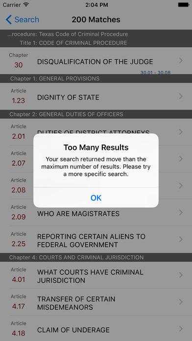 Texas Code of Criminal Procedure (TX Law) iPhone Screenshot 5
