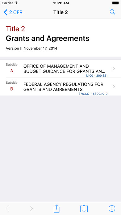 Title 2 Code of Federal Regulations - Grants and Agreements iPhone Screenshot 1