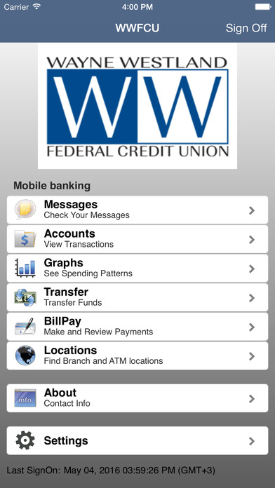 Wayne Westland FCU Mobile Banking iPhone Screenshot 2