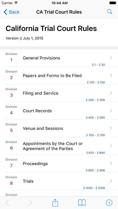 California Trial Court Rules (CA Rules of Court Title 2) iPhone Screenshot 1