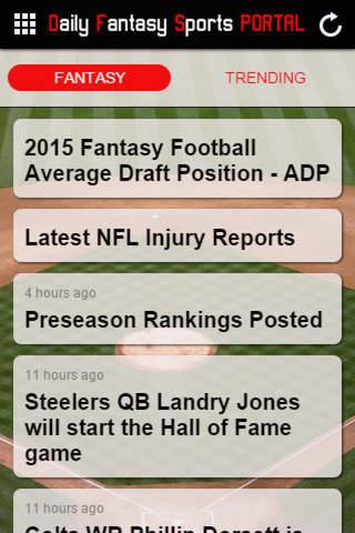 Daily Fantasy Sports PORTAL screenshot 1