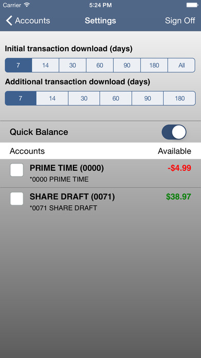 Fiberglas FCU Mobile Banking iPhone Screenshot 3