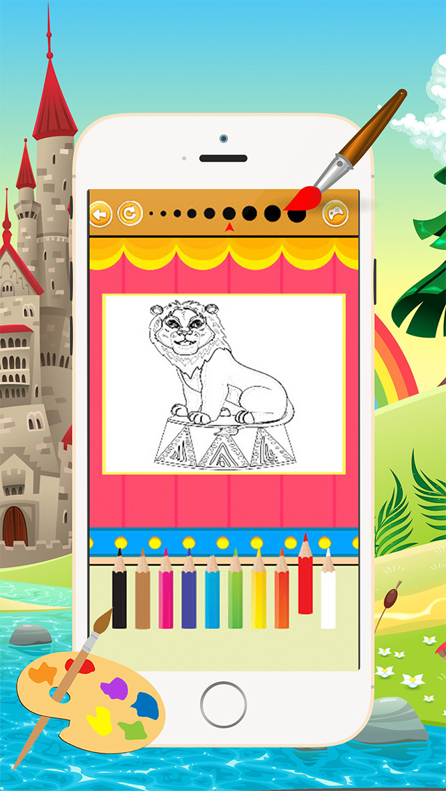 Мультфильм Цирк Книжка-раскраска - Все в 1 животных рисунок и живопись Красочный для детей игры бесплатно Скриншоты4