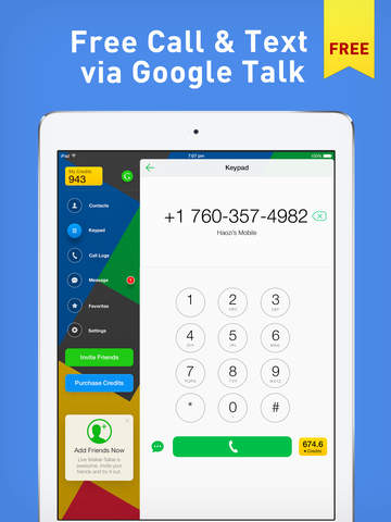 Phone for Google Voice & GTalk, Free Local and International Calling & Texting screenshot
