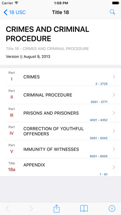 Crimes and Criminal Procedure (Title 18 United States Code) iPhone Screenshot 1