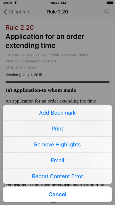 California Trial Court Rules (CA Rules of Court Title 2) iPhone Screenshot 3