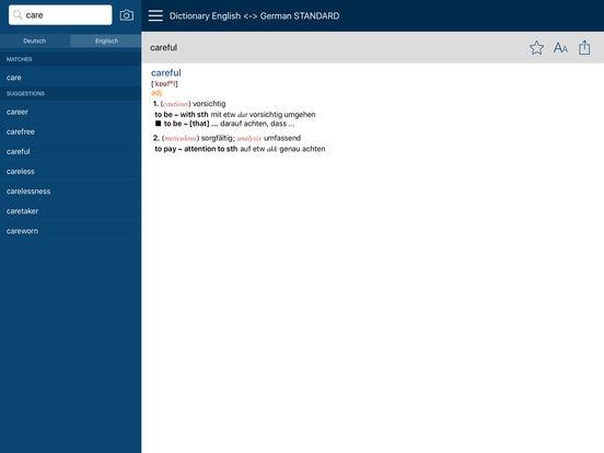 PONS Standard Dictionary English <-> German iPad Screenshot 2