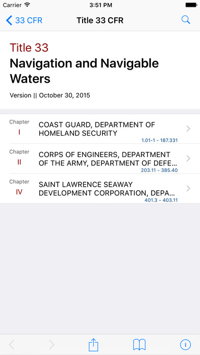 Title 33 Code of Federal Regulations - Navigation and Navigable Waters iPhone Screenshot 1