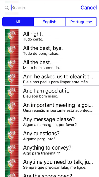 Portuguese Phrases screenshot 1