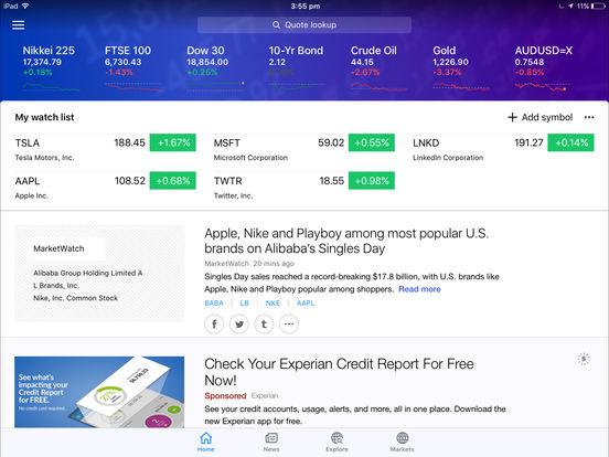 Yahoo! Finance iPad Screenshot 1