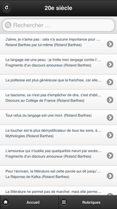 Citations Francophones du 20e siècle iPhone Screenshot 1