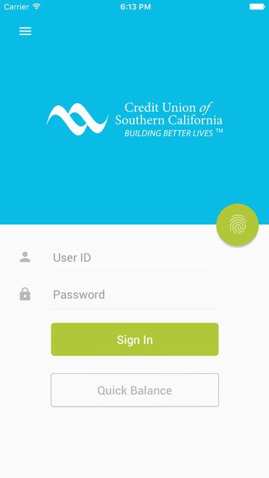CUSoCal Mobile Banking iPhone Screenshot 1