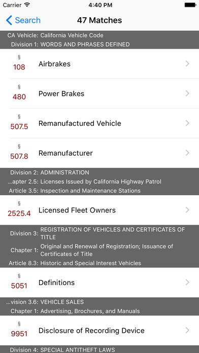 California Vehicle Code (CA Law) iPhone Screenshot 5