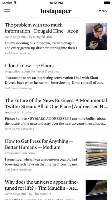 Instapaper iPhone Screenshot 1