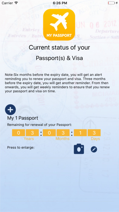 Passport Reminder Screenshots