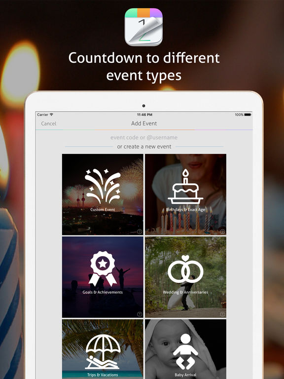 Countdown+ Event Reminders Lite (Calendar and Event Countdowns with Timer presets) screenshot