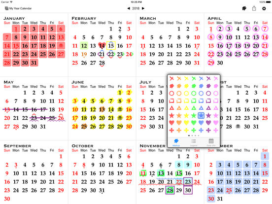 All-in-One Year Calendar (Planner) – Sync, Events, Markups, Notes, Holidays, Birthdays, Fiscal Week Numbers, ... iPad Screenshot 1