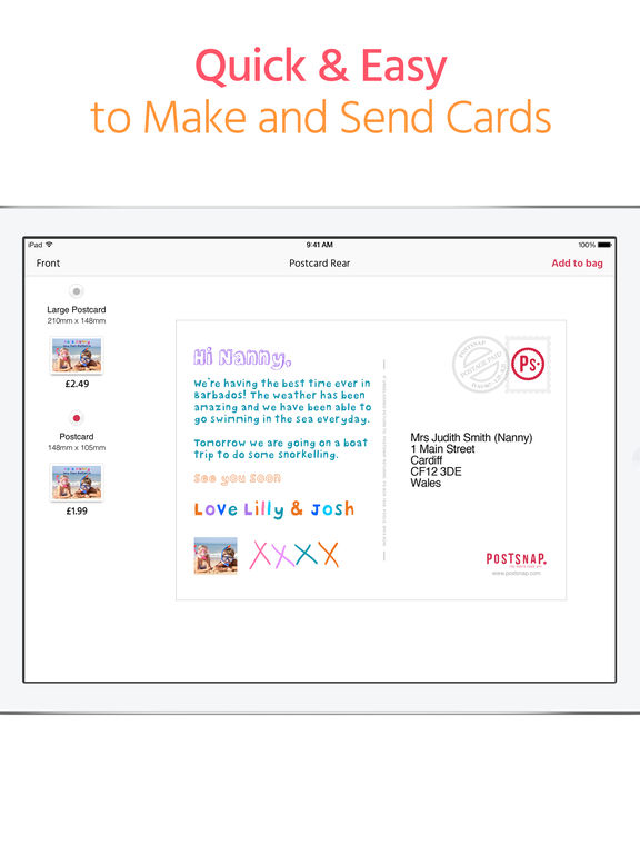 PostSnap Photo Card App: Postcards, Greeting Cards, Real Personalized Announcements and Customized Invitations screenshot