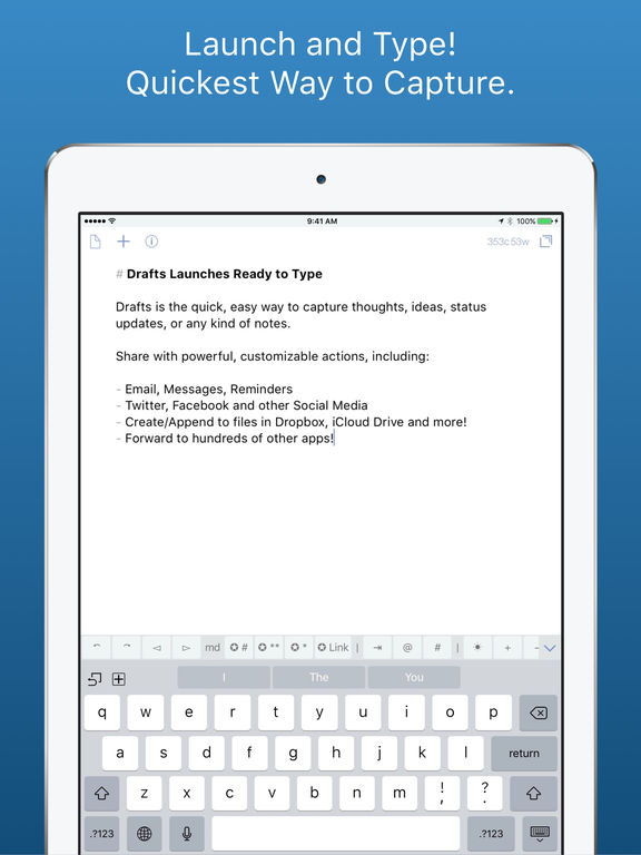 Drafts - Quickly Capture Notes, Share Anywhere! Screenshots