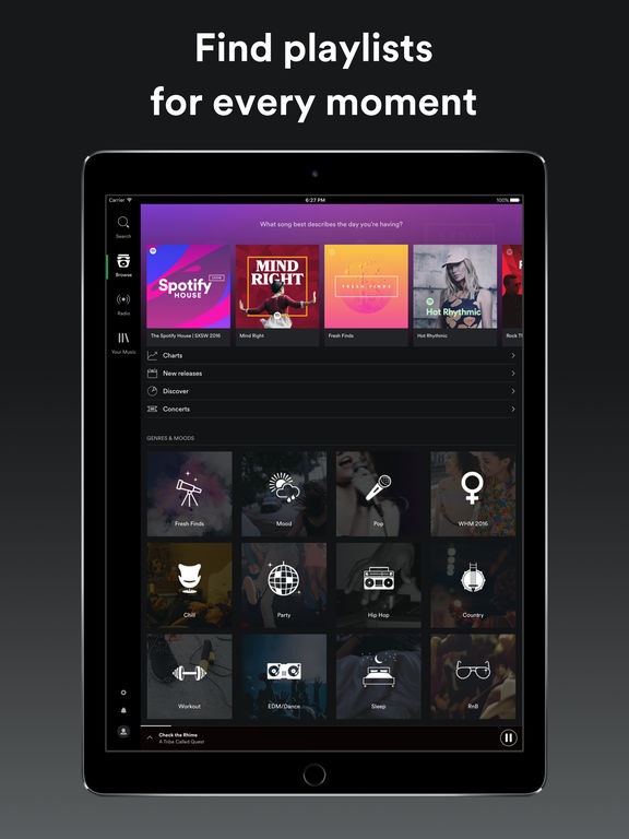 Screenshots of Spotify Music for iPad