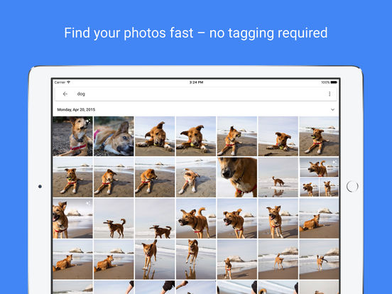 Screenshots of Google Photos for iPad