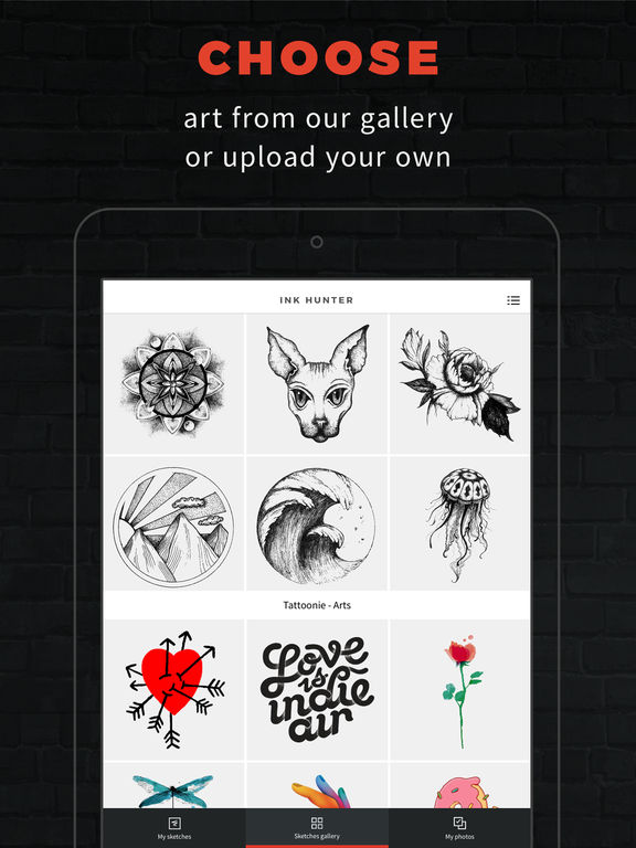 INKHUNTER try tattoo designs in augmented reality screenshot