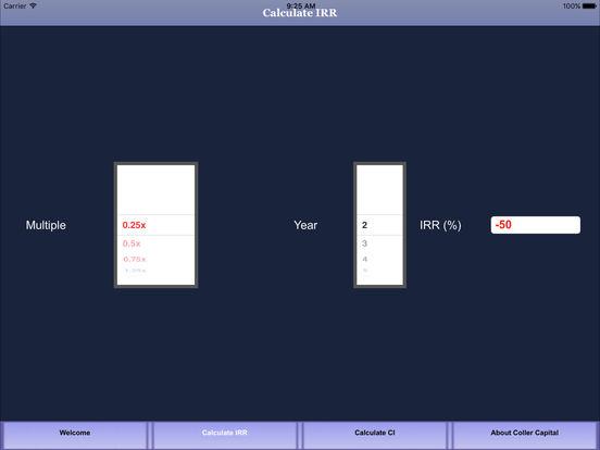 Coller Capital IRR Calculator App iPad Screenshot 3
