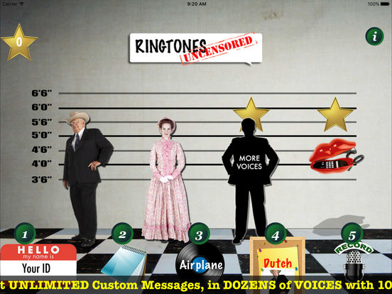 9,999 Ringtones Uncensored USA Voices Ringtone Creator iPad Screenshot 3