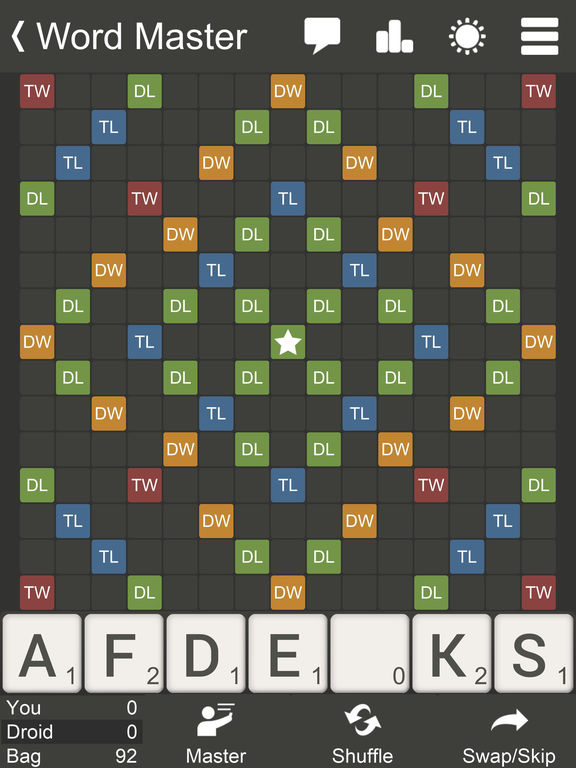 Word Master - The most practical scrabble-like board game screenshot
