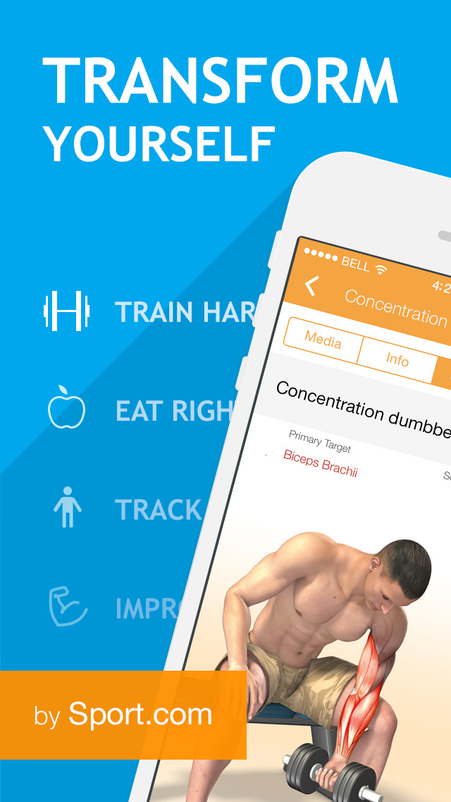 All-in Fitness: 1200 Exercises, Workouts, Calorie Counter, BMI calculator by Sport.com screenshot 1