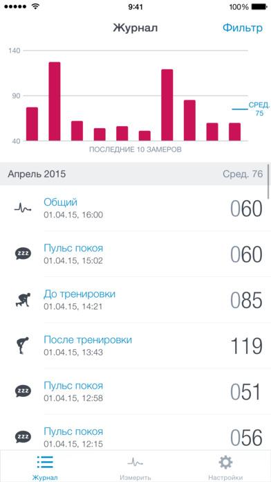 Runtastic Heart Rate PRO Пульсометр для смартфона Screenshot