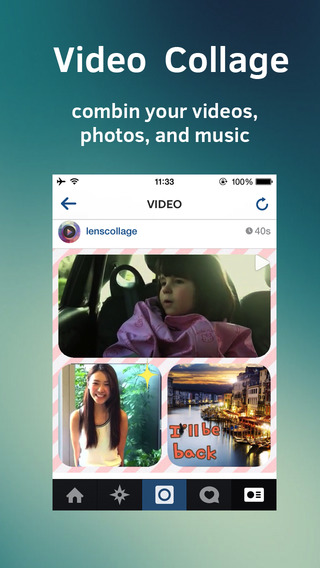 Thunder Video Collage - stitch video and pic together and post it to Insta-gram and face-book with m