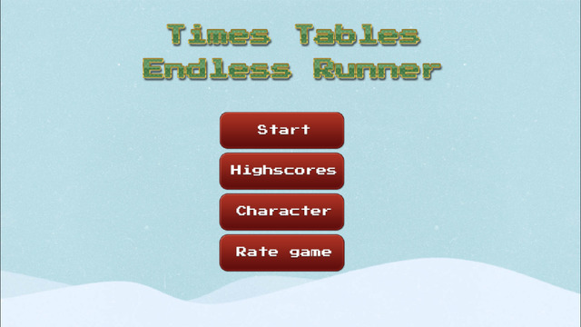 Times Tables Endless Runner - Christmas Edition