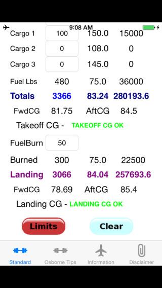 Be V35 Weight and Balance Calculator iPhone Screenshot 2