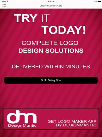 Design Mantic Business Card Maker App for iPad iPhone